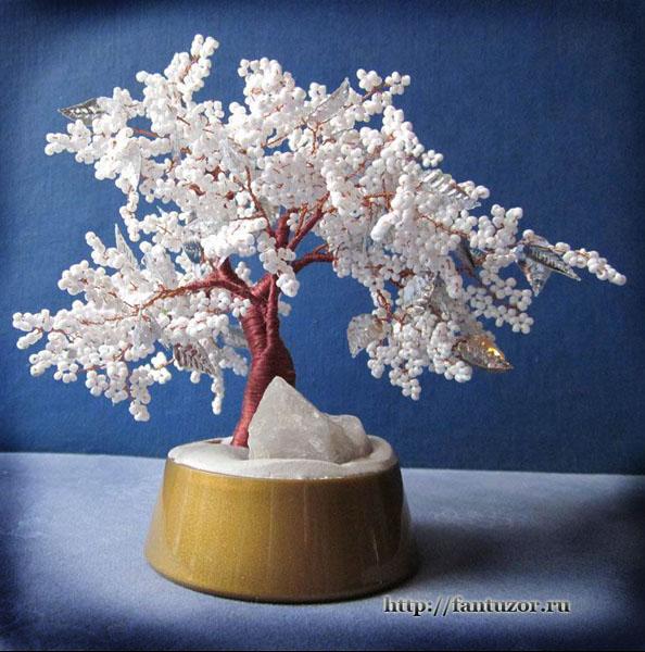 Белое дерево из бисера мастер класс